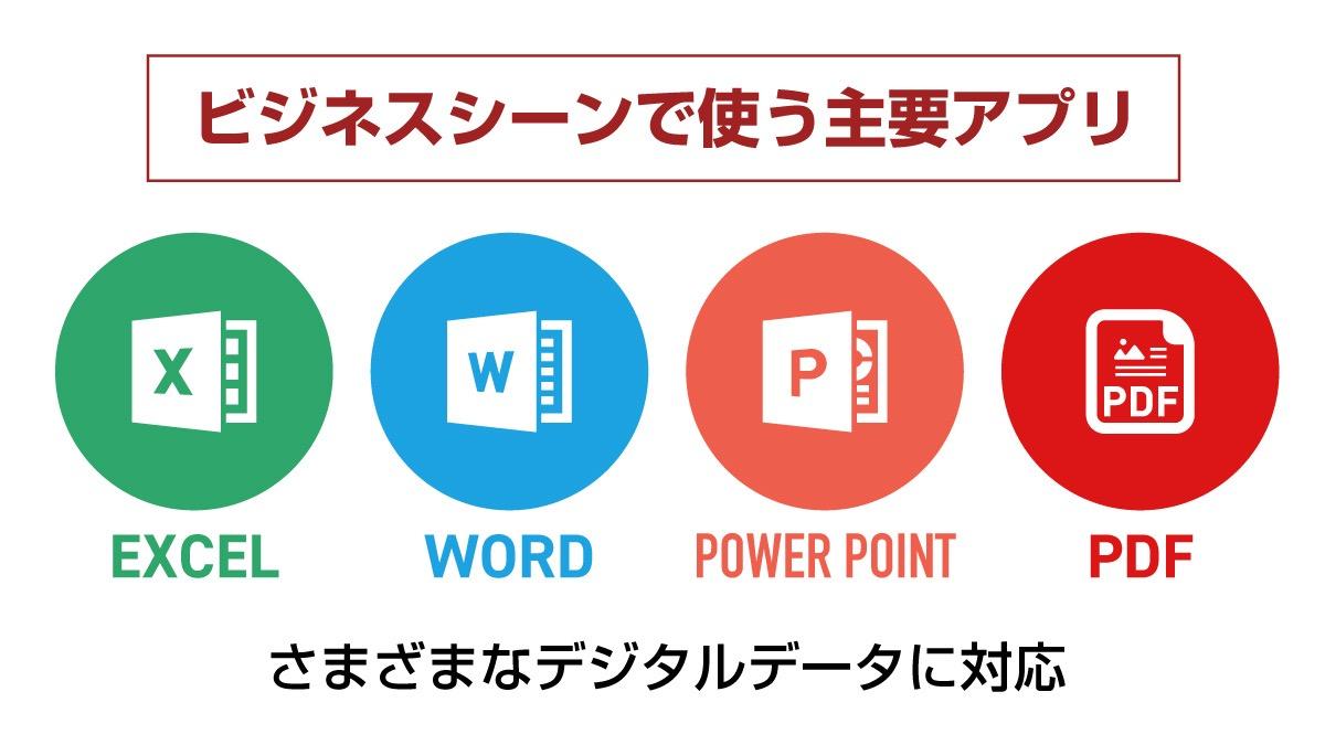 電子印鑑を主に使う主要アプリのエクセル・ワード・パワーポイント・PDF